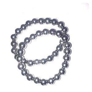 🆕 Two Silver Glass Beaded Bracelets